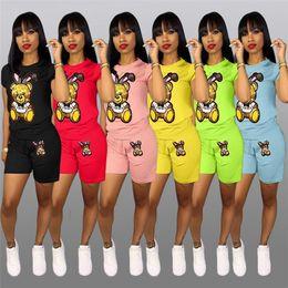 Wholesale green yellow striped t shirt online – design Sequins Cartoon Shorts Tracksuit Women Outfit Short Sleeve T shirt Tops Shorts Piece Set Bear Print T Shirt Sportswear Suit Clothing INS