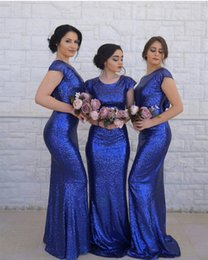 $enCountryForm.capitalKeyWord Australia - Royal Blue Sequins Mermaid Modest Bridesmaid Dresses With Cap Sleeves Jewel Neck Short Train Women Formal LDS Bridesmaid Gowns Custom Made