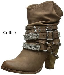 $enCountryForm.capitalKeyWord Australia - Autumn Winter Shoes for Women Punk Style High Heel Boots Rivet Belt Buckle Snow Boots PU Leather Retro Mid-calf Boots Plus-size Botas Mujer
