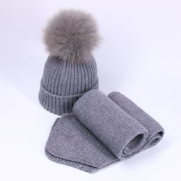 Children CroChet fox hat online shopping - Child Wool Knitted Scarf Hat Set With Real Fox Fur Pompons Women Girls Winter Warm Thick Crochet Hat Scarf Pieces Sets