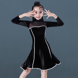 6142a6c54 Latin Dance Dress Black Velvet Long Sleeve Girls Rumba Cha Cha Professional  Competition Performance Wear Children Clothes DN3083