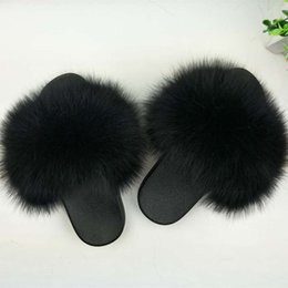 $enCountryForm.capitalKeyWord Australia - 1Real Fur Slippers Women Fox Home Fluffy Sliders With Feathers Furry Summer Flats Sweet Ladies Shoes Large Size 45 Home Pantufas