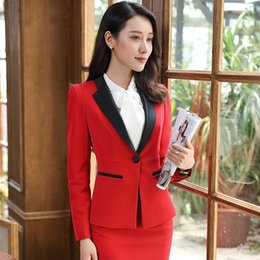 formal business skirts 2019 - New Elegant women skirt suits set Business formal long sleeve Patchwork blazer and skirt office ladies plus size work un