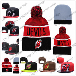 Chinese  New Jersey Devils Ice Hockey Knit Beanies Embroidery Adjustable Hat Embroidered Snapback Caps Black Red Brown Stitched Hats One Size manufacturers