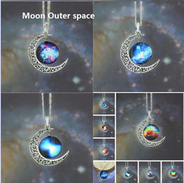 Outer Space Pendant Australia - New Vintage starry Moon Outer space Universe Gemstone Pendant Necklaces Mix Models 400