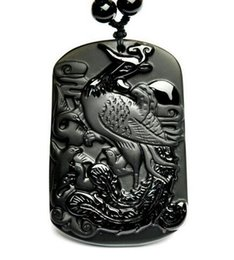 $enCountryForm.capitalKeyWord Australia - Wholesale Natural black obsidian carved beautiful Phoenix Lucky pendants necklace beads jewelry earring
