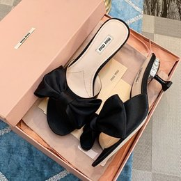 lady slipper flowers NZ - New highend womens fashion slippers designer breathable half slippers casual highheeled ladies leather sandals with original package qo