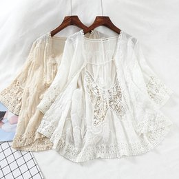 Short Sleeve White Lace Cardigan Australia - Harajuku Kimono Hollow Out Lace Embroidered Blouse Short Sleeve Blouse Cardigan Boho See Through Top Women Sexy Shirt Blusas J190621