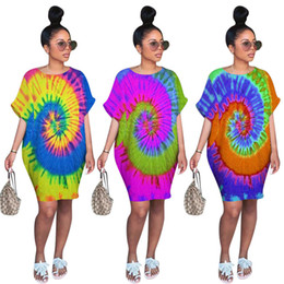 plus size clothing batwing shirt Australia - Women plus size dresses print colorful midi skirt crew neck batwing dolman sleeve t shirt designer summer clothing casual loose dress 1269