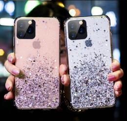 Venta al por mayor de más nuevo brillo brillantes estrellas del caso del teléfono celular de 4 colores para el iPhone exopy 11 pro max X XR XS Max 6 6s 6plus 7 8 7plus 8plus suave TPU