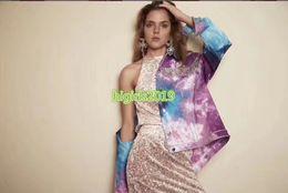 $enCountryForm.capitalKeyWord Australia - high end women girls denim bomber jacket crystal rhinestone tassel chain long sleeves blouse shirt fashion design luxury sweatshirt tops