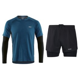 Build Suit Australia - Men's Running Suit Long Sleeves+Shorts Running Sets Quick Dry Jogging Suits Gym Fitness Body Building Sportswear