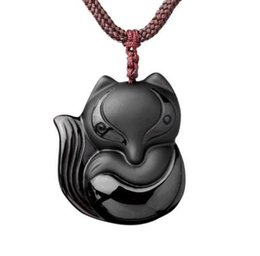 jade fox pendant Australia - Fine Jewelry Hand Carved Natural Obsidian Stone Fox Good Luck Pendant Necklace Free Shipping