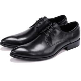 Tan Mens Dress Shoes Leather Australia - Fashion Black   Tan Derby Prom Shoes Mens Dress Shoes Genuine Leather Business Shoes
