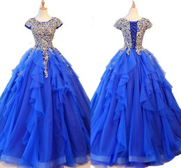 36ec0a57529 Gold Blue Ruffles Sweet 16 Dresses 30D Floral Applique Beaded Short Sleeve  Tulle Prom Dress Ball Gowns Quinceanera Dress For 15 Years Girls