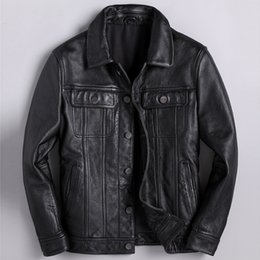 suede blazers 2019 - Real Picture Natural Cow Leather Coat For Men XXXL Plus Size Genuine Leather Mens Bomber Jackets Suede Blazer Coats Name