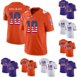 College Football Flags Australia - Mens Clemson Tigers Flag Jersey 10 Ben Boulware 13 Hunter Renfrow 17 Bashaud Breeland Jadar Johnson Charone Peake College Football Jerseys