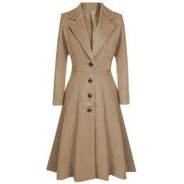 Wholesale elegant style women trench coat for sale - Group buy CHAMSGEND Winter Women Coats Long Style Lapel Button Trench Coat Women Winter Warm Long Peacoat Outwear Elegant Female