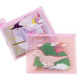 stationery files Canada - Cute Girls Mind Magic Dinosaur Transparent Ring File Bag Creative Student Finishing Storage Stationery Bag Pencil Case