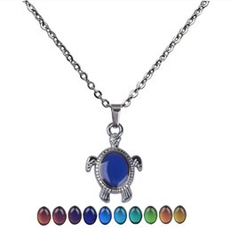 Cute Animal Sea Turtle Pendant Color Change Emotion Mood Chain Necklace Men Women Sweater Decorations from vintage amethyst stone necklace manufacturers