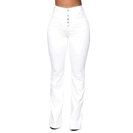 bleach boots Canada - Washed High Waist Button Boot-cut Jeans Women Casual Long Pants Trousers XRQ88
