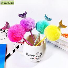 $enCountryForm.capitalKeyWord Australia - 1 PC Color Random Cute Mermaid Tail Gel Pens Plush Warm Ball Black Colored Pen Writing Tool Stationery Office School Supplies