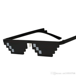 China HSH01 Unique Vintage Mosaic Party Sunglasses Men Cool Puls Size 8 Bits Pixel With Nose Pads Sunglass EYEWEAR FREE Shipping USA JAPAN Canada suppliers