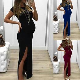 $enCountryForm.capitalKeyWord NZ - Split Maternity Dresses Short Sleeve Dress Women Solid Colors Mix Summer Casual Round Collar Fashion 16dm F1