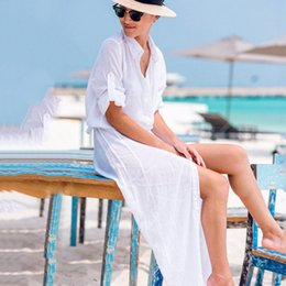 $enCountryForm.capitalKeyWord Australia - 2019 Summer Women Kaftan Beach Cover Up Long Chiffon Bikini Beach Tunic Dress Female White Beachwear Pareo Bouton Robe De Plage J190623
