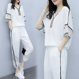 Korean Casual Sport For Women Australia - Summer New Casual Sports Suit Female Korean Version Loose Slimming Fashion Two Sets of Tide Summer Suits for Women Plus Size