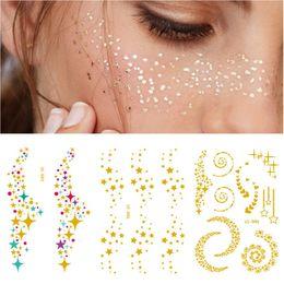 Gold Body Art Tattoo Australia - 1pcs Bronzing Face Makeup Tattoo Personality Disposable Gold Tattoos Stickers Waterproof Metal Beauty Freckles Flash Body Art