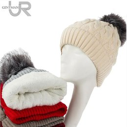 beanies for girls Australia - New Add Lining Knitted Winter Hats Women Warm Fur Pompom Cap Skullies & Beanies For Women High Quality Girls
