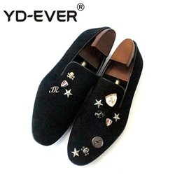 54b301a92f2 British Style Loafers Runway Big Size Stars Party Brand Smoking Slippers  Skull Italy Metal Tip European Velvet Casual Shoes Men