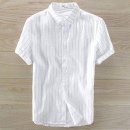 $enCountryForm.capitalKeyWord Australia - Mens shirts 2019 Summer New Men's short sleeve striped linen shirts casual Top quality 100% linen lapel fashion slim tops