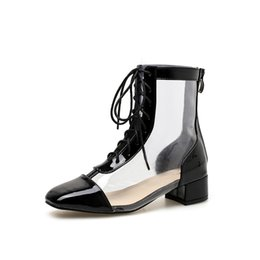 Female Hollow Boots Australia - Transparent Women Boots Women Martin Boots Jelly Shoes Cross strap Hollow out Female shoes Ladies boots