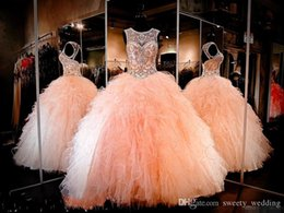 Make Coral Beaded Ball Bead Australia - Luxury Crystal Beaded Ball Gown Quinceanera Dresses With Sheer Neck Organza Ruffle Floor Length Sweet 16 Prom Dresses Custom Made