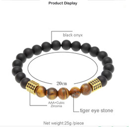 black agate heart NZ - Tidal natural stone Black Agate tiger's eye zircon Beaded Bracelet