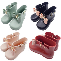 Wholesale Red Shoes Australia - Mini Melissa Jelly Shoes Baby Bows Rain Boots Kids Designer Shoes Girls Boys Non-Slip Princess Short Boots Children Jelly Water Boots A6504
