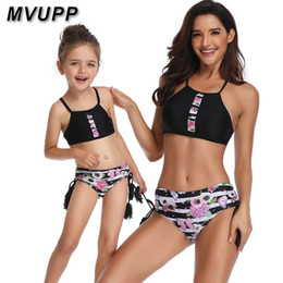 Match Clothing Mom Baby NZ - Tassel Floral Mother Daughter Swimsuit Family Matching Outfits Mommy And Me Swimwear Striped Mom Baby Girl Clothes Look Sisters Y19051103
