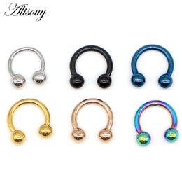 septum piercings Australia - Alisouy 1PC Tiatnium Anodized Circular Barbell Horseshoe CBR Septum Lip Labret Eyebrow Nose Ring Nipple Piercing Body Jewelry
