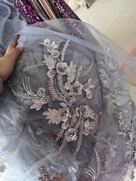 Robe de mariée bohomienne tissu argent perlée dentelle robes de mariée appliques tissu pour la robe de mariage de Style champêtre