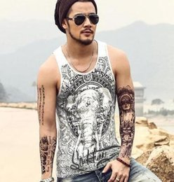 $enCountryForm.capitalKeyWord Australia - Summer New Men Animal Print T-Shirts Retro Blue Elephant Printed for Mens Casual Slim Fit Vest All-over Pattern Sport Sleeveless Tops XXL