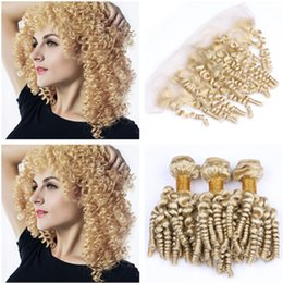 wholesale funmi human hair Canada - #613 Blonde Funmi Curly Brazilian Hair Weave Bundles with Frontal Bouncy Curly Blonde Human Hair Weaves with Lace Frontal Closure 13x4