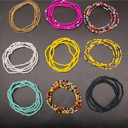 Beaded multi strand Bracelet online shopping - Mixed color multi layer rice bead bracelet set Bohemian national wind bracelet