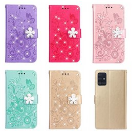 leather case iphone id Australia - 3D Flower Leather Wallet Case For Iphone 11 Pro XR XS MAX 8 7 Galaxy S20 + A51 A71 Imprint ID Card Slot Butterfly Bling Diamond Flip Cover