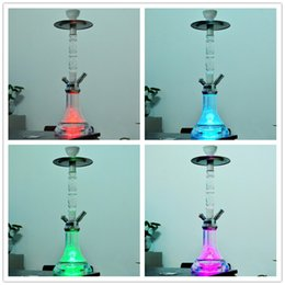 $enCountryForm.capitalKeyWord NZ - 21.25 inches Height Acrylic Round Remote Controlled LED Light Glass Water Pipe Smoking shisha Cigarette Filter Arabian Hookah Bong Set Sale
