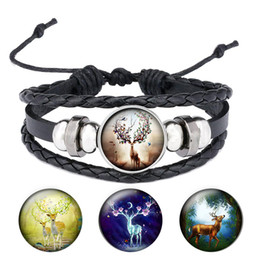 snaps for leather Australia - Colorful Elk Photo Black Leather Woven Bracelet Glass Cabochon Handmade Snap Button Jewelry Gift for Men B053