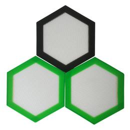 Oil Resistant Rubber Australia - Quality FDA food grade reusable non stick concentrate slick oil Hexagon shape heat resistant fibreglass silicone dab pad mat