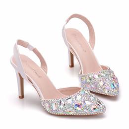 $enCountryForm.capitalKeyWord Australia - Crystal Queen Women Pumps 10CM High Heels Rhinestone Elegant Pointed Beautiful Wedding Bridal Shoes Party Dress Courtesy Shoes