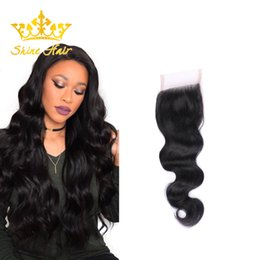 $enCountryForm.capitalKeyWord Australia - Shine Hair Brazilian 1B Hair 8-22 Inch Natural Black Color Body Wave Human Virgin Hair 4*4 Lace Closure Indian